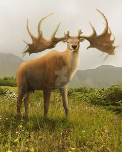 the_king_of_the_hill__megaloceros_giganteus_by_leogon-d9v2pmb